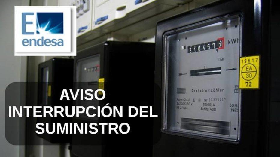 AVISO – INTERRUPCIÓN DE SUMINISTRO- ENDESA-