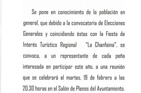 REUNIÓN – Urgente Fiesta de la Chanfaina