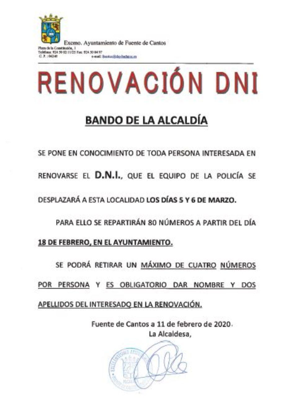 RENOVACIÓN DEL DNI EN FUENTE DE CANTOS