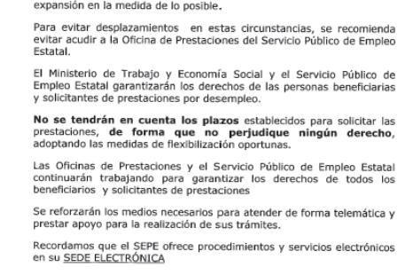 EVITAR ACUDIR A SU OFICINA DE EMPLEO GRACIAS.