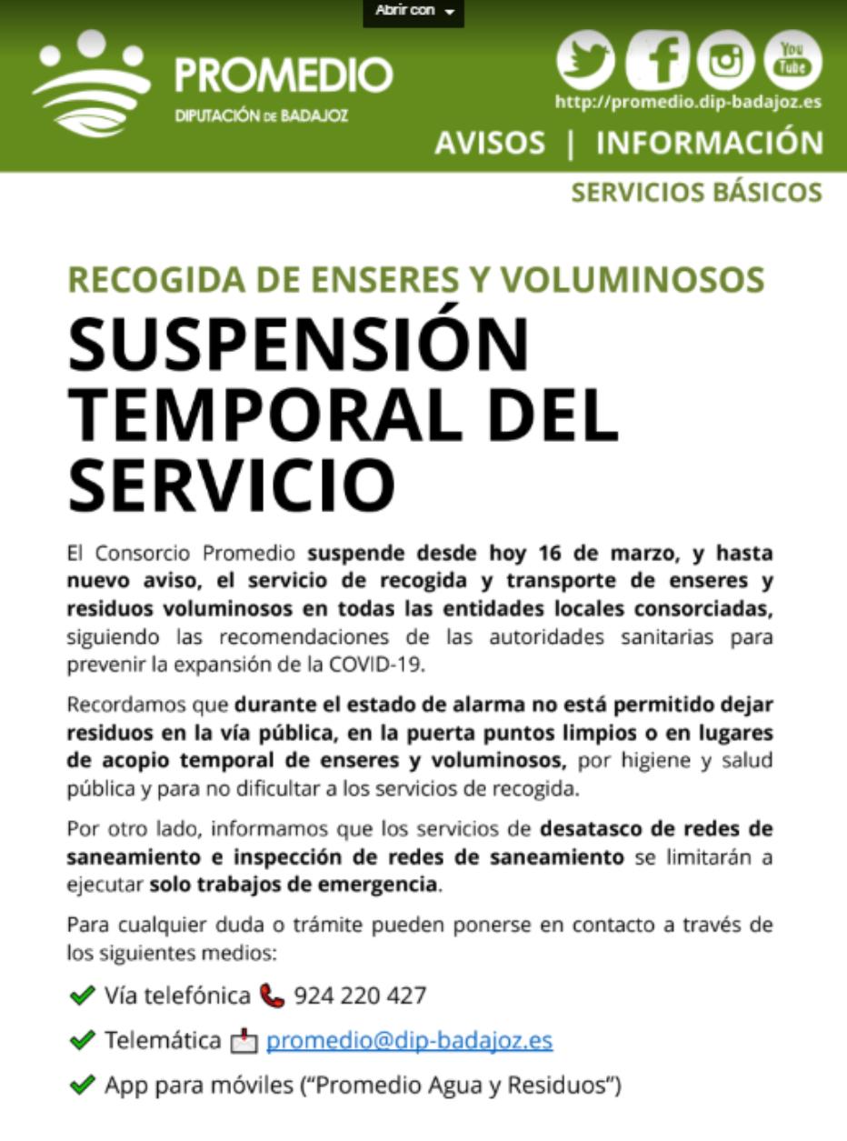 PROMEDIO – SUSPENSIÓN TEMPORAL DEL SERVICIO