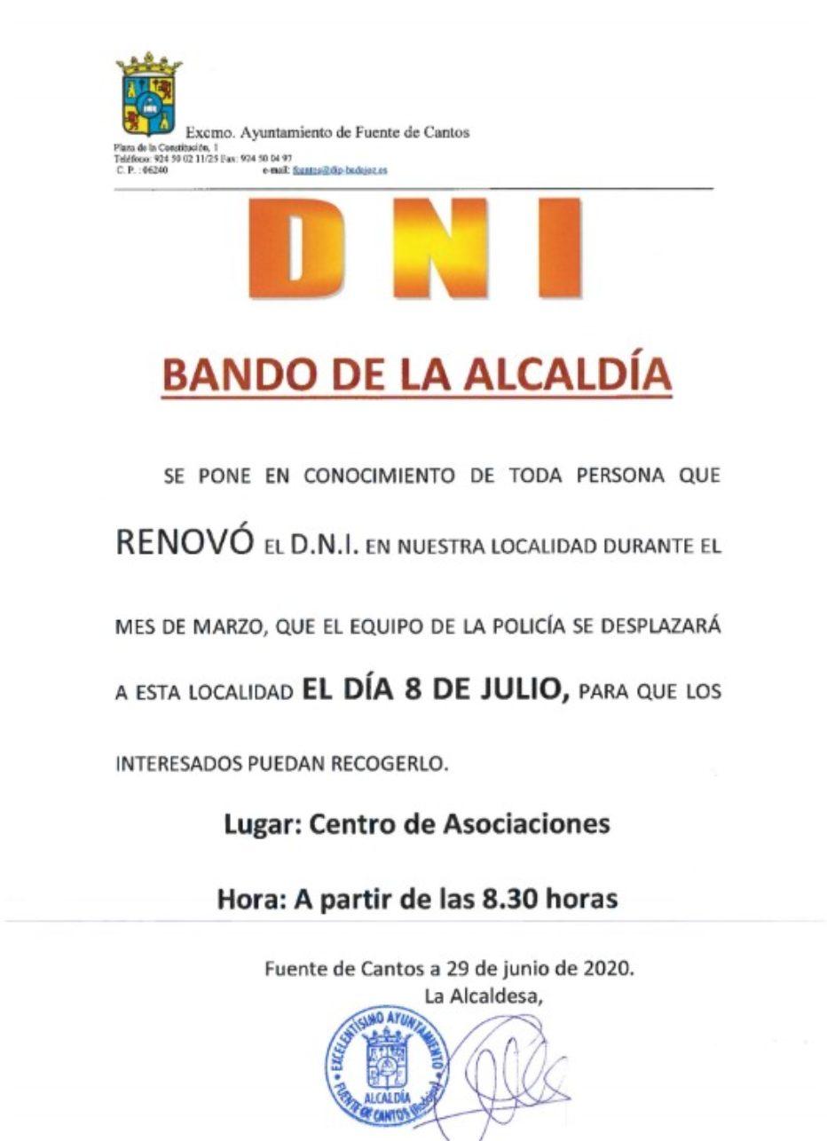 Bando de la Alcaldía DNI