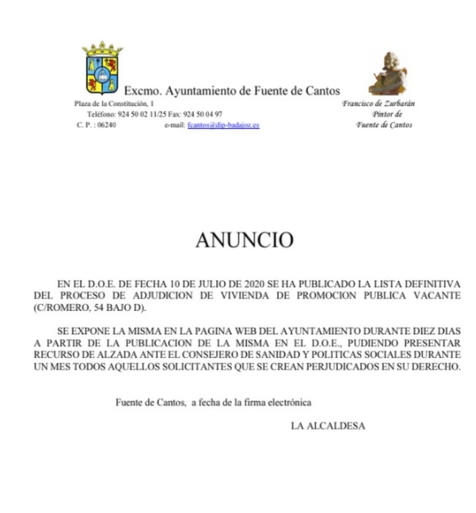 LISTA DEFINITIVA VIVIENDA C/ROMERO