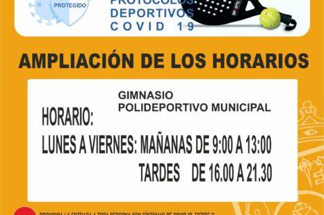Nuevos horarios Gimnasio y Polideportivo