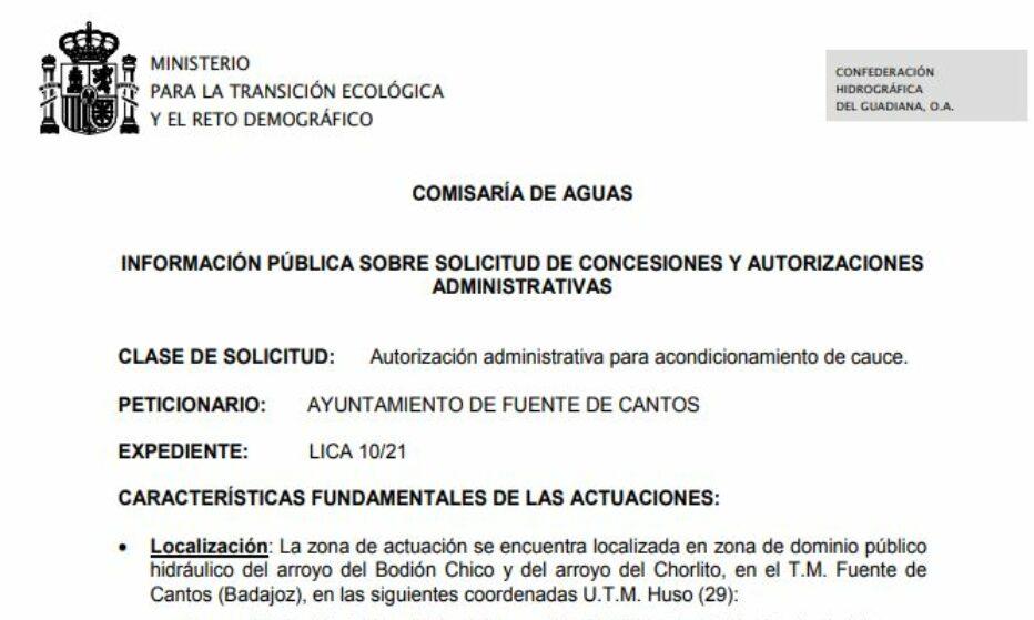 Autorización administrativa para acondicionamiento de cauce.