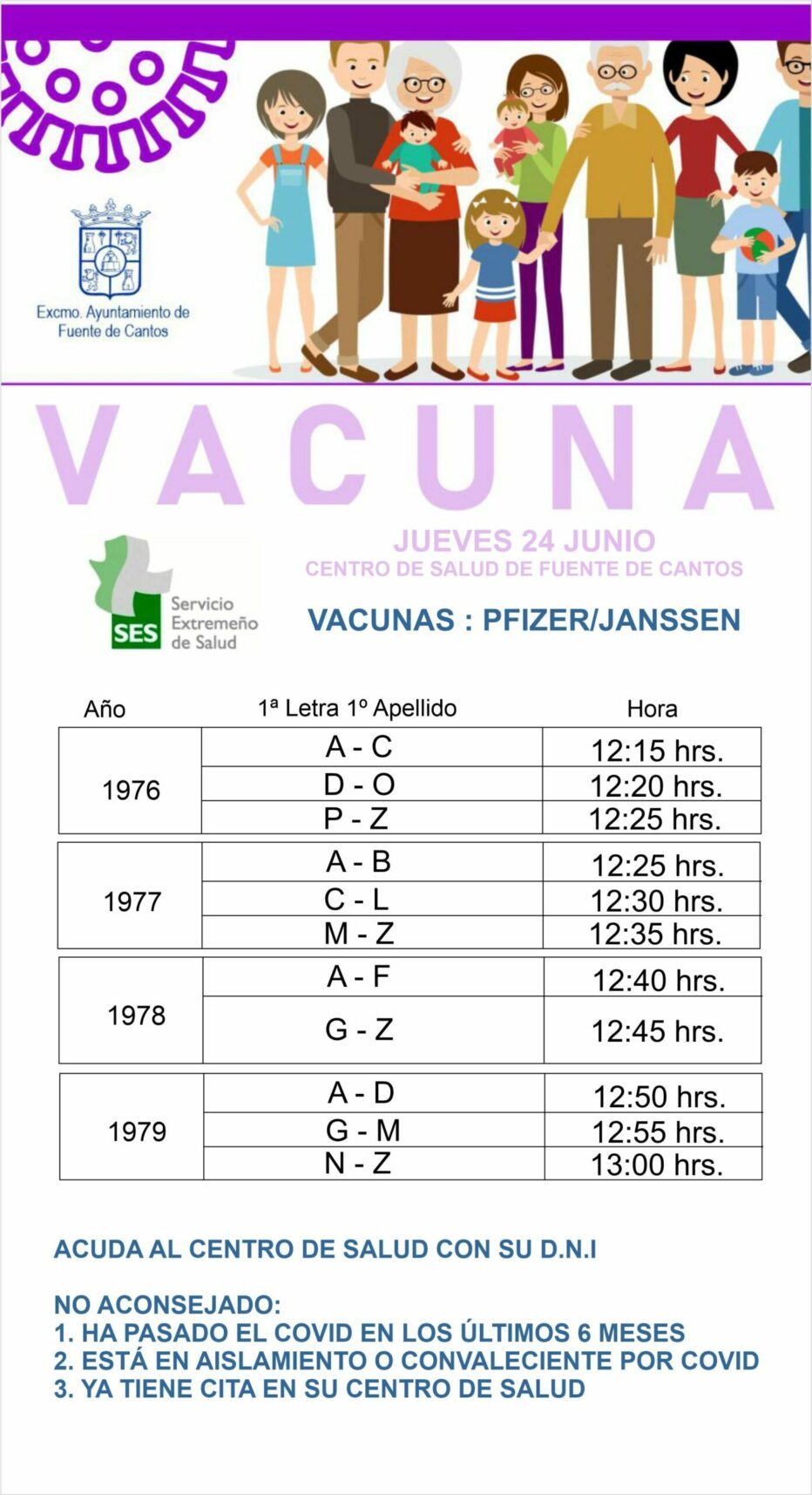 Llamamiento Vacunación Jueves día 24 de Junio