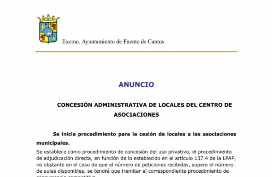 Concesión Administrativa de Locales del Centro de Asociaciones