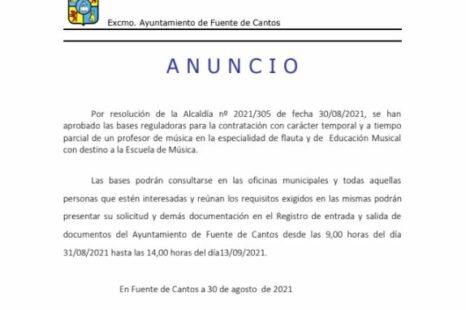 ANUNCIO – Profesor de música especialidad Flauta y Educación Musical